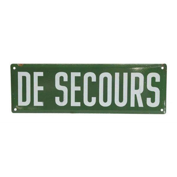 French Vintage Sortie De Secours Sign Set - 2 Pc. For Sale - Image 3 of 5