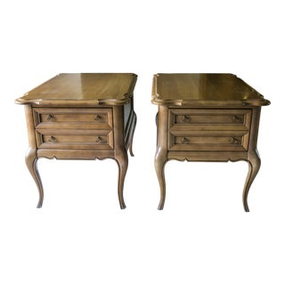1960s Traditional Brandt Solid Wood End Tables - a Pair