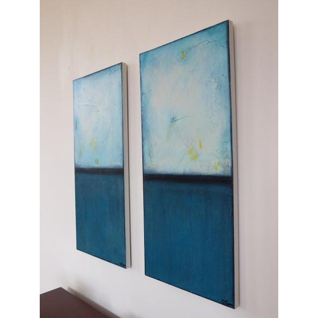 Blue Velvet Sunrise, I & II. Mixed Media Oil on Panel - Pair - Image 9 of 11