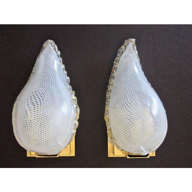 1940s Mid-Century Modern Murano Latticino Leaf Form Wall Sconce Lights - a Pair For Sale In Palm Springs - Image 6 of 13