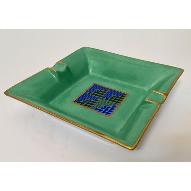 Limoges, France Modern Porcelain Square Green and Gold Ashtray For Sale - Image 9 of 12
