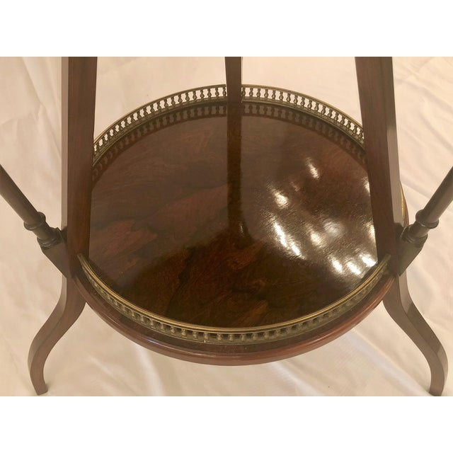 Late 19th Century Unusual Antique Rosewood Side Table With Delicate Inlay and Coasters, Circa 1860-1870. For Sale - Image 5 of 6