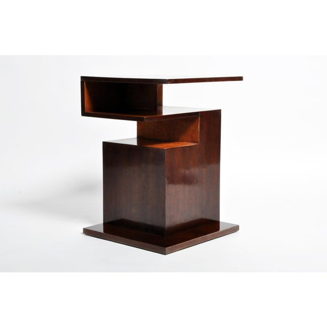 Mid 20th Century Hungarian Walnut and Maple Veneer Side Table With Shelves For Sale - Image 5 of 13