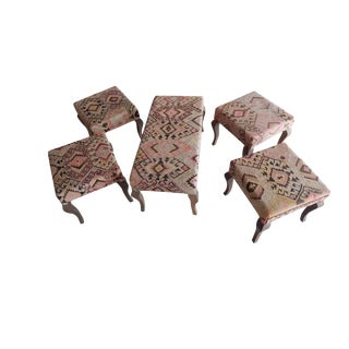 Set of 5 Turkish Kilim Bench, Kilim Bench Upholstered With Vintage Turkish Kilim Rug, Handmade Ottoman From Anatolian For Sale