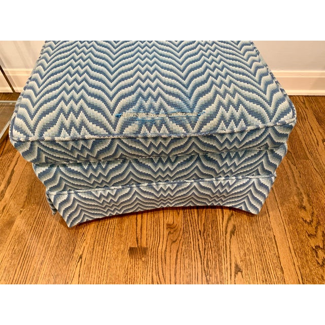 Chinoiserie Baker Bargello Skirted Ottoman For Sale - Image 3 of 7