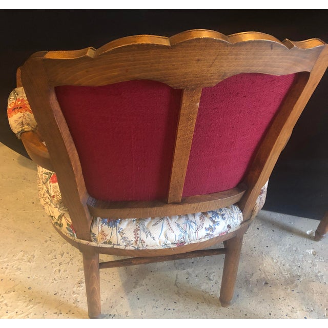 Country French Boudoir Fauteuil Louis XV Chairs in Quilted Like Upholstery, Pair For Sale - Image 4 of 10