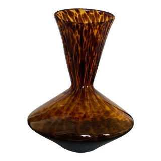 Vintage Tortoiseshell Tortoise Glass Vase For Sale