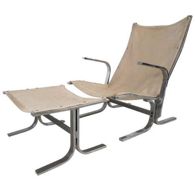 Mid-Century Modern Ingmar Relling Style Sling Lounge Chair and Ottoman For Sale - Image 10 of 10