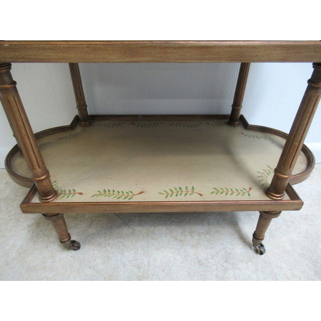 1970s Neoclassical 3 Tiered Paint Decorated Lamp End Table For Sale - Image 5 of 9
