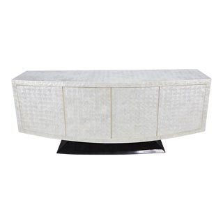 "1990s Contemporary White Capiz Shell and Black Tessellated Stone ""Lounge"" Buffet For Sale"