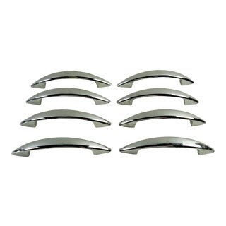 Mid Century Modern Chrome Drawer Cabinet Pulls - Set of 8 For Sale