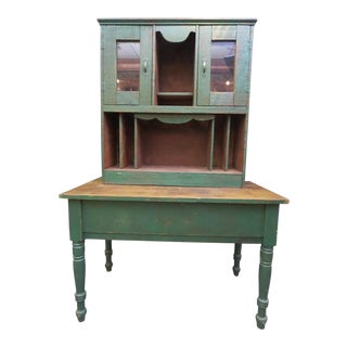 Green Primitive Two Piece Hutch & Sideboard For Sale