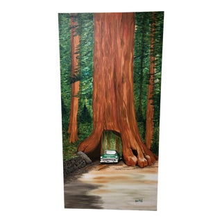 Chevy Bel Air Driving Through Redwood Tree Painting For Sale