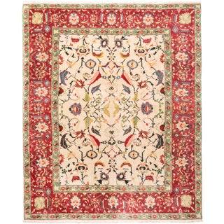 New Agra Traditional Red and Beige Cotton Rug With Herati Design - 9′3″ × 11′5″ For Sale