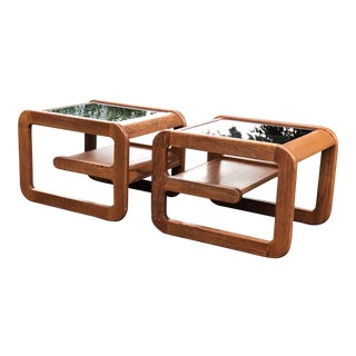 California Design Lou Hodges Wood and Smoked Glass Side Tables - a Pair For Sale