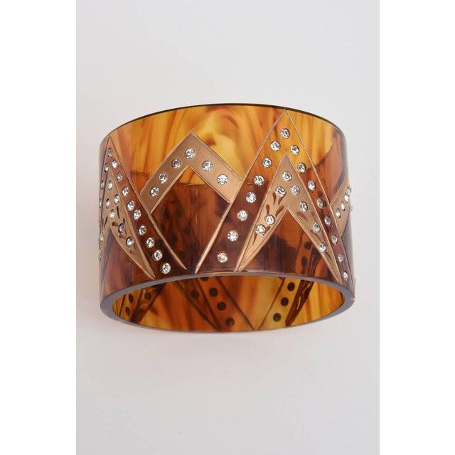 Orange French Tortoise Resin and Rhinestone Cuff Bracelet For Sale - Image 8 of 10