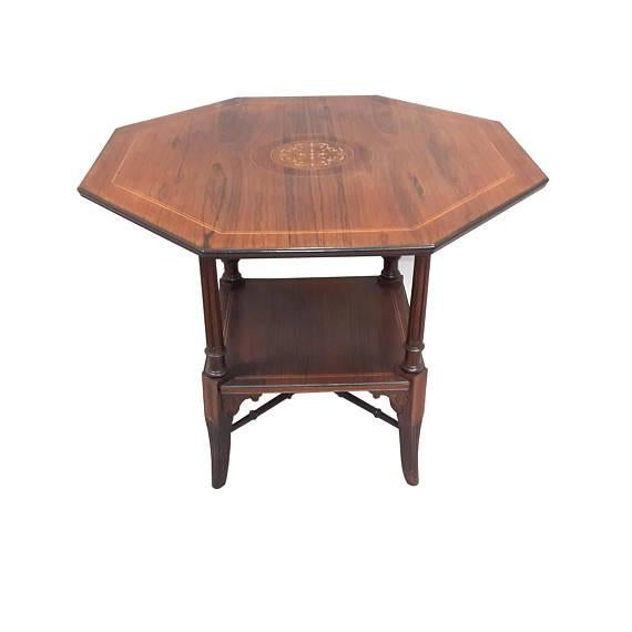 Handsome English Edwardian octagonal inlaid side table. Warm patina, lovely period inlaid center, lower shelf with faux...