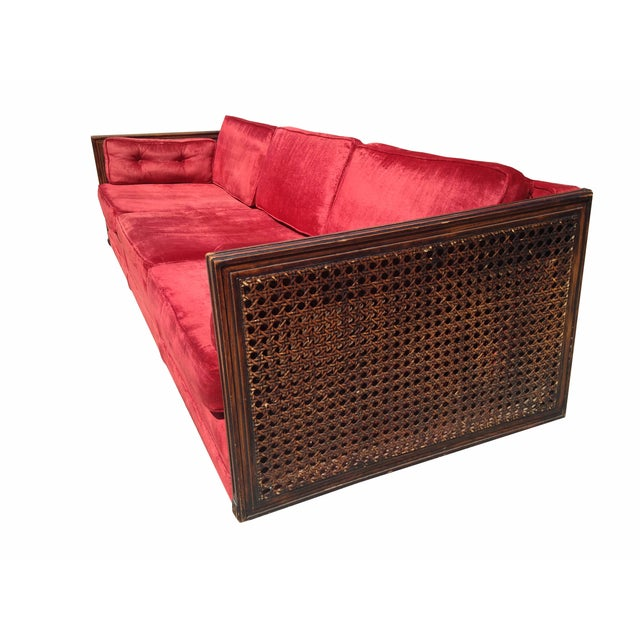 Ruby Red Velvet Cane-Side Sofa - Image 3 of 5