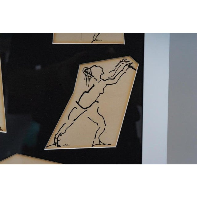 Ink Sketches of Dancers in Position - Set of 3 Framed Groups For Sale - Image 12 of 13