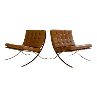 Mies Van Der Rohe Gerald R. Griffith Barcelona Chairs, Pair For Sale