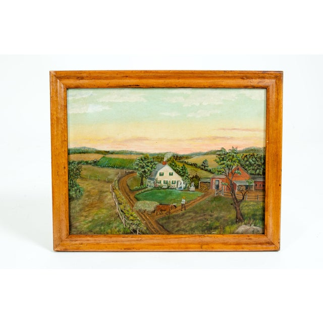 Wood Mid-20th Century Wood Framed Oil / Board Painting For Sale - Image 7 of 10