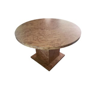 1980s Mid-Century Modern Burl Laminate Round Dining Table For Sale