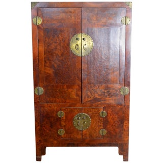 19th Century Chinese Stained Burlwood Four Door Armoire With Brass Hardware For Sale