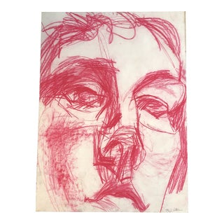 Large Original Contemporary Small Pink Pastel Abstract Portrait Drawing For Sale