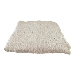 """Vintage Hand Crochet Throw - 103"""" X 96"""" For Sale"""