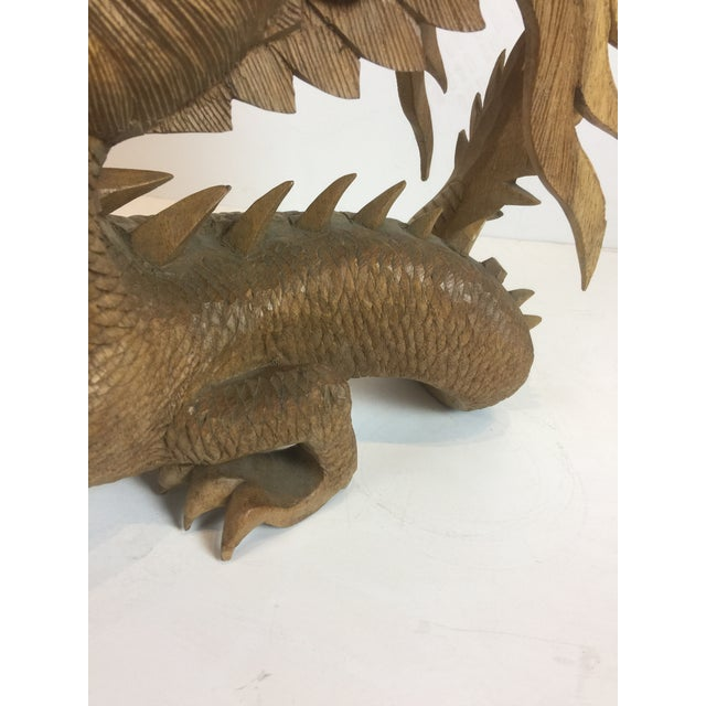 Rare Magnificent Vintage-Carved Wooden Dragon Figurine For Sale - Image 12 of 13