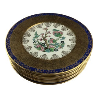 Vintage Edgewood 22 Karat Gold Warranted China Dinner Plates - Set of 8 For Sale