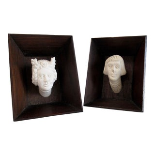 """16th. Century Polish Carved Porcelain Bisque """"Royal Castle"""" Figural Hall of Heads in Shadow Frames -A Pair For Sale"""