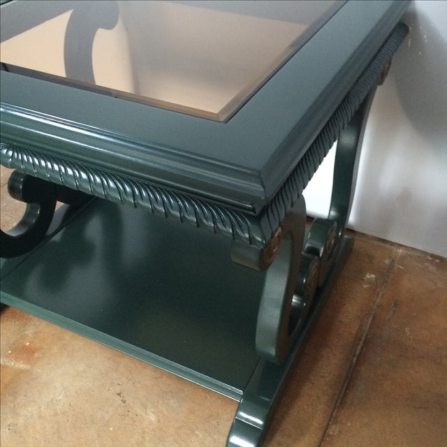 Green Harp-Shape Lacquer Side Tables - A Pair For Sale - Image 8 of 10