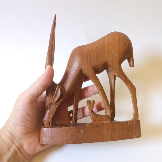 Hand Carved Wooden African Antelope Figurine - Image 4 of 5