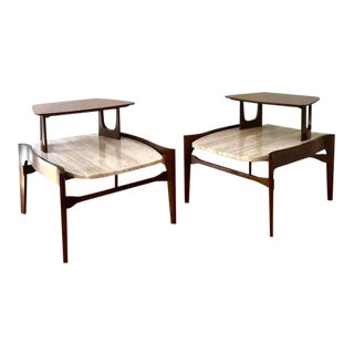 1950s Bertha Schaefer Mid Century Modern Italian Walnut and Travertine Two Tier End Tables - a Pair For Sale