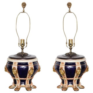 Pair of Mintons Porcelain Urns Now Mounted as Lamps For Sale