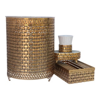 Stylebuilt Woven Gold Ormolu Bath Accessories - Set of 4 For Sale