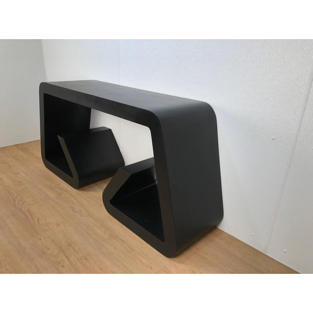 Black Lacquered Scroll Console Table - Image 4 of 4