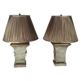 Green Tole Lamps with Silk Shades - A Pair For Sale