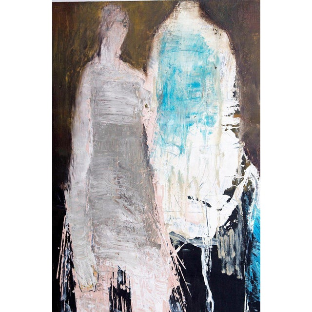 "Early 21st Century Abstract & Figurative Oil on Board by Brigitte McReynolds, ""Couple in the Blue"" For Sale - Image 5 of 13"