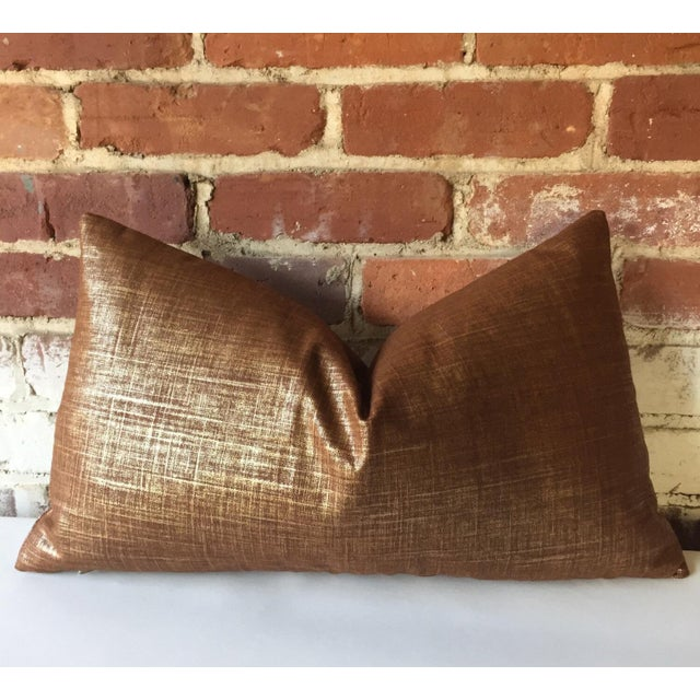 Copper & Gold Metallic Linen Pillow Cover - Image 4 of 4
