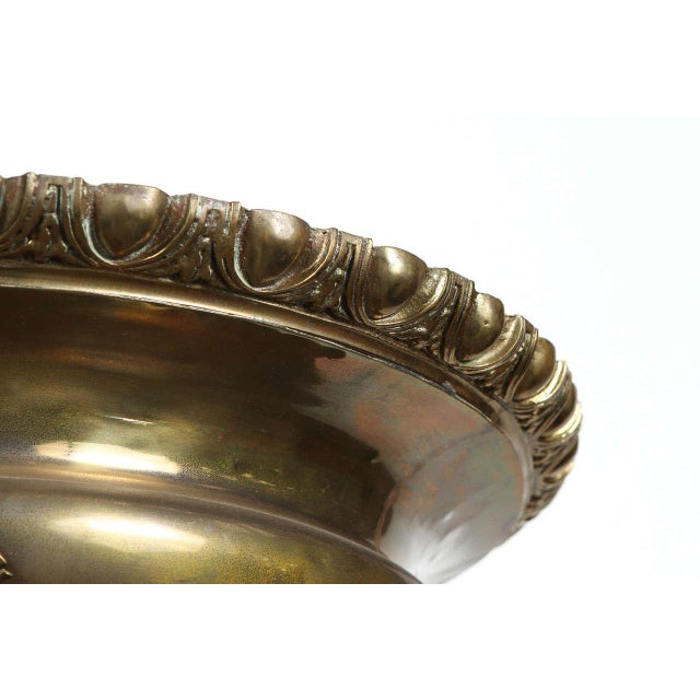 Large Scale Exceptional Persian Brass Jardiniere For Sale - Image 9 of 10
