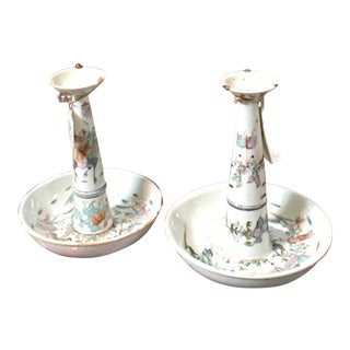 Chinese Famille Rose Ceramic Incense Burners- A Pair For Sale