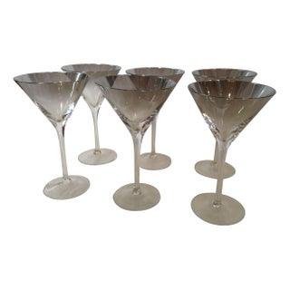 Smoked, Mirrored Ombre Martini Glasses - Set of 6