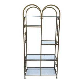 1950's Mid-Century Double Arched Gold Display Etagere For Sale