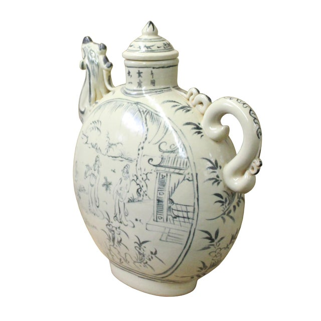 Chinese Oriental Ceramic Cream White Outline Graphic Bird Head Jar For Sale - Image 4 of 8