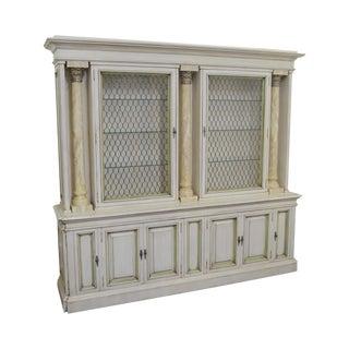 Karges Vintage Corinthian Column Custom Painted Breakfront Cabinet