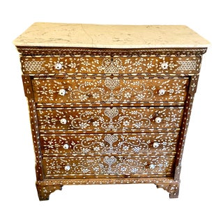 Late 19th Century Syrian Mother of Pearl Inlaid Chest of Drawers With Marble Top For Sale