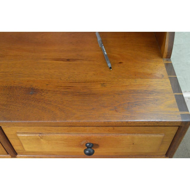 Mid Century Studio Crafted Solid Walnut Step Back Cupboard Cabinet W/ Drawers - Image 7 of 10