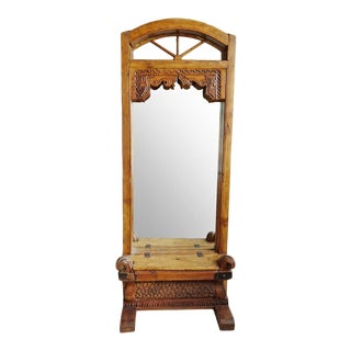 Old Architectural Window Entry Mirror For Sale